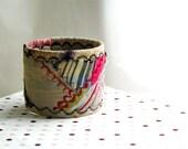 Embroidered quilted silk bracelet - magenta