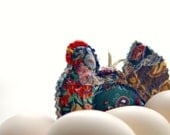 LITTLE HEN, Textile Ornament, Handmade Quilted, Rustic Home Decoration