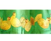 Happy Hens - Appliqued textile curtain