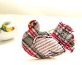 KITCHEN DECOR, Textile Hen, Home Ornament, Pink Grey Plaid