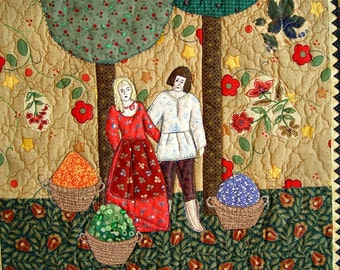 Contemporary Folk Art, Farmhouse decor, Art Quilt, HARVEST TIME,  Housewarming wall decor, red green primitive art, Autumn fruit trees