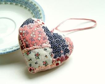 embroidered heart ornament, romantic decor, valentines gift, romantic kitchen decor, romantic modern decor, pastel pink heart