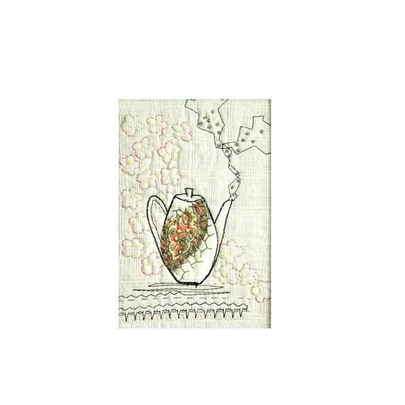 Smells like tea -framed handmade mini art quilt