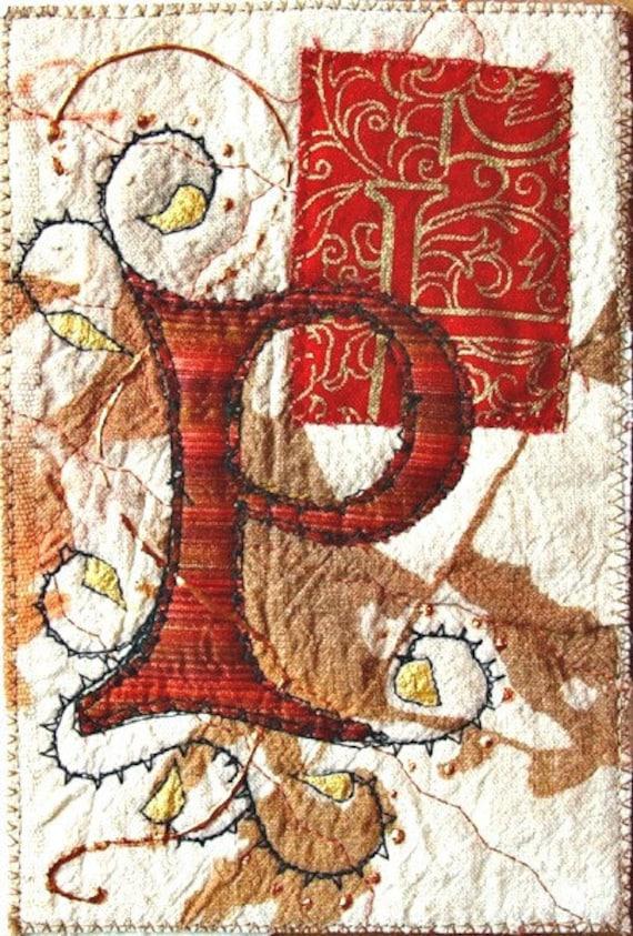 """Textile art card - Leter """"P"""""""