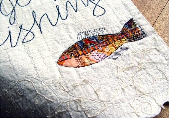 GONE FISHING, Summer Textile Decor, Appliqued Fish, White Home Decor, Fiber Art