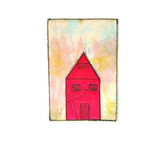Fiber art card - Magenta house