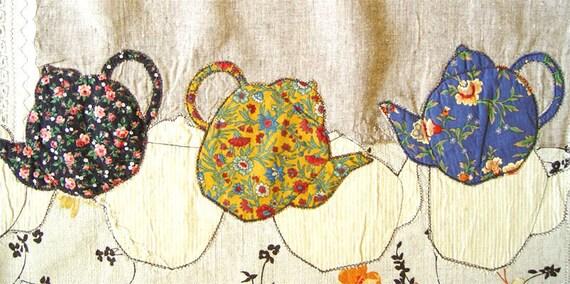 TEACUPS CURTAIN, Appliqued Kitchen Decoration, Rustic Linen Handmade, Cottage Chic