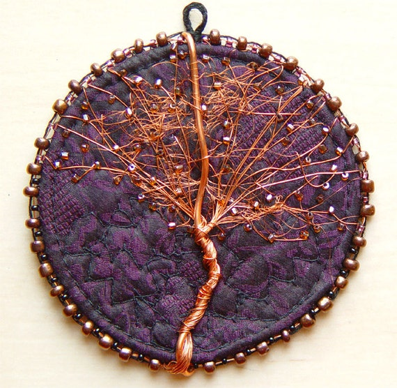 COPPER TREE, Purple Silk, Embroidered Ornament, Home Decor, Textile and Wire
