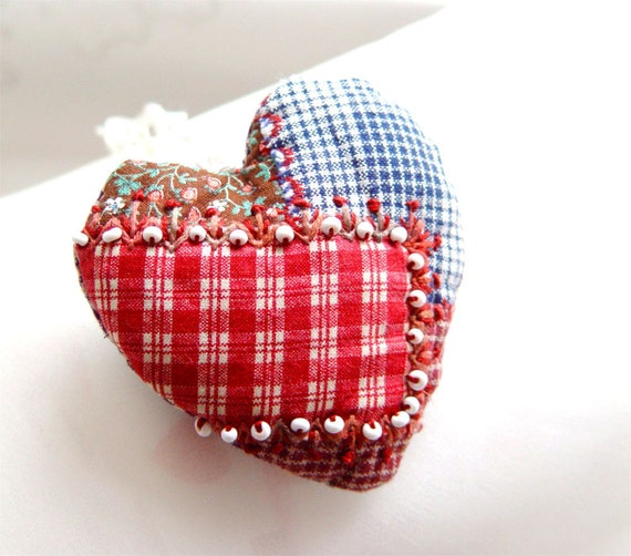 HEART ORNAMENT, Quilted Decor, Red Blue Embroidered, Beaded Heart, Gift Idea