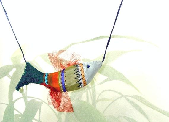 NAUTICAL JEWELLERY, Textile Fish, Silk Pendant, Fiber Art, Handmade Embroidered