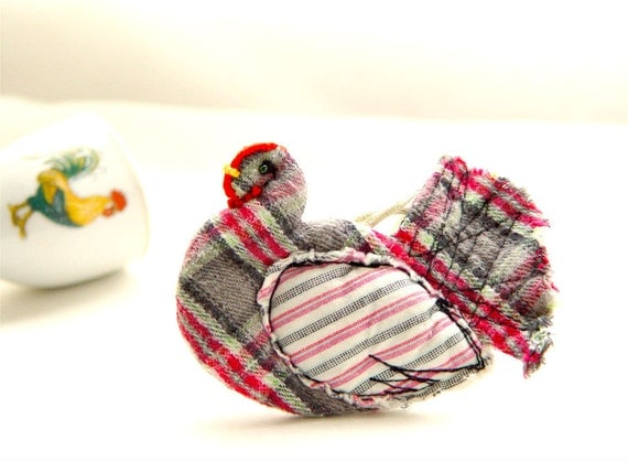 KITCHEN DECOR, Textile Hen, Home Ornament, Pink Grey Plaid