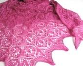 Fuchsia -  hand knitted shawl cashmere