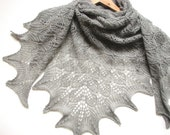 GREY Tree leafs- hand knitted shawl cashmere