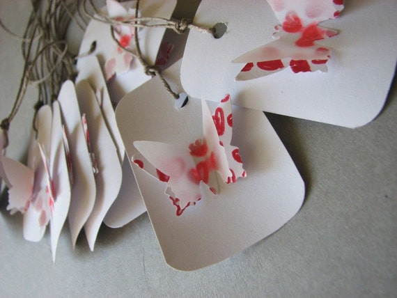 Valentine butterfly of 10  tags red heart