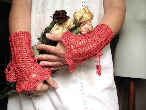 Columnea -handmade crocheted lace mittens wrist cuffs