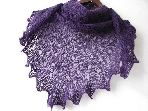 Purple PLUM - hand knitted shawl
