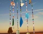 Sea Glass & Sea Shell Spiral Mobile
