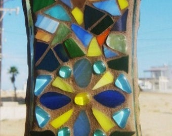 Colorful Stained Glass Vase/Candle Holder