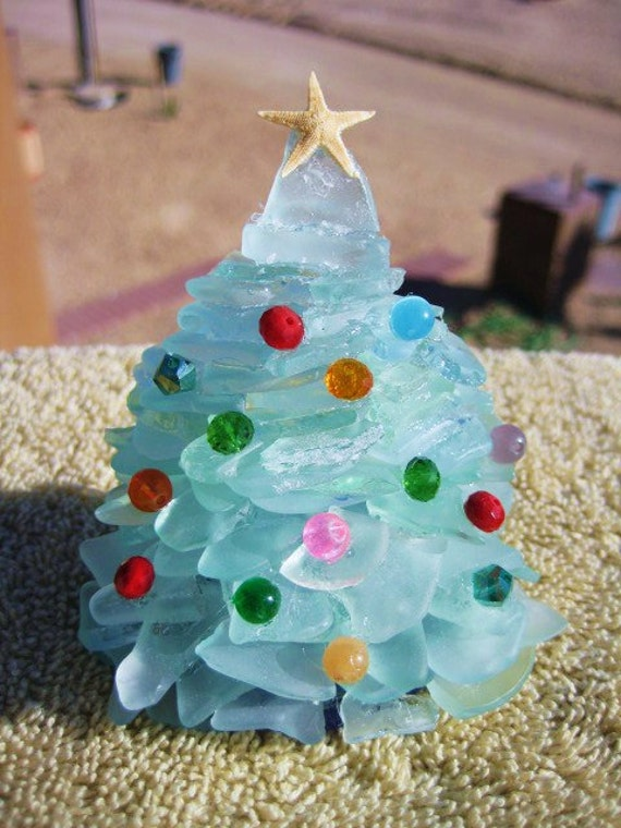 Small Ice Blue Sea Glass Christmas Tree by mexicobeachgirl ...