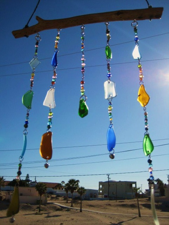 Sea Glass Windchime / Mobile with Glass Beads and Bells