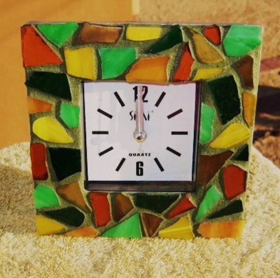 Stained Glass Mosaic Wall/Desk Clock