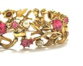 Vintage Spring Bouquet Bracelet signed STAR Pink Rhinestones and White Pearls in Goldtone Setting Vintage Wedding Costume Jewelry