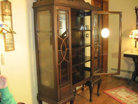 Items Similar To Vintage Hutch China Cabinet Mahogany From