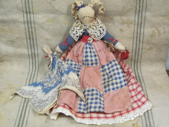 Vintage Rag Doll Bunny OOAK Handmade Red White and Blue