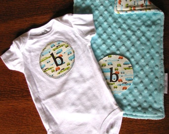 Personalized Bodysuit with matching Burp Cloth size 3 mo
