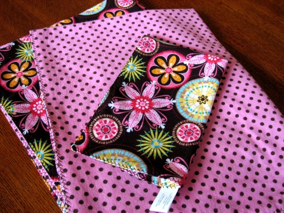 Polka Dots and Floral Flannel Receiving Blanket/Burp Cloth Set
