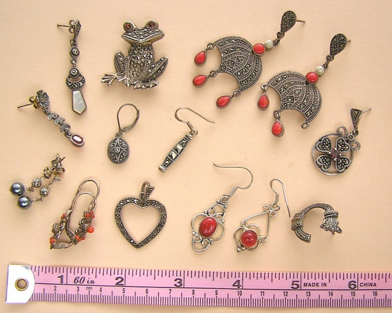 Vintage Lot of Sterling, Coral, Marcasite Earrings and Pendant for Repurpose or Repair