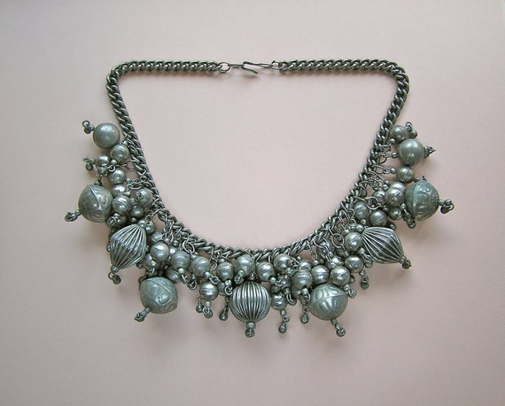 Vintage Belly Dancer Beaded Dangle Necklace - Delicious Chunky Oversize Beads