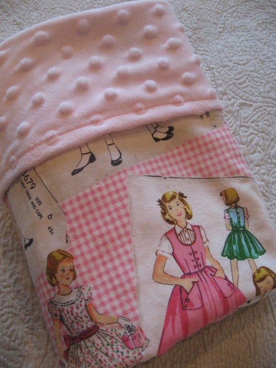 Large Minky Blanket- Vintage Shabby Chic 1950's Girl Pink
