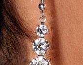 Bridget, Swarovski Crystal Graduated Three Stone Drop Earrings
