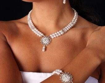 SALE Emma Bridal Set, Swarovski Crystal and Pearl Filagree Pendant Double Strand Bridal Necklace, Bracelet and Earrings
