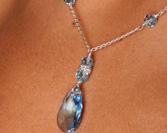 Aquamarine Swarovski Crystal Bridal Bridesmaid Y Drop Pear Pendant Necklace, The Christina