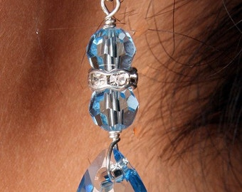 Bridal Earrings Aquamarine Swarovski Crystal Bridal Bridesmaid Drop Pear Earrings, Christina