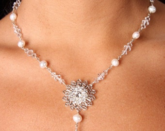 Swarovski Crystal and Pearl Filagree Bridal Necklace, The Erin