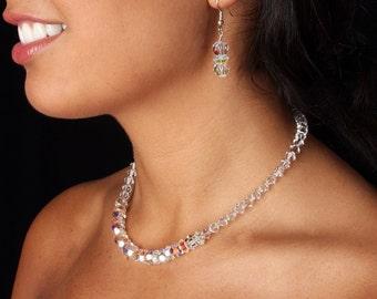 SALE Bridal Set, Swarovski Crystal Bridal AB Aurora Borealis Necklace Earrings, The Melana