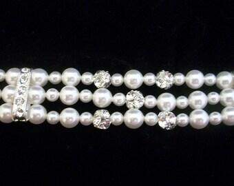 Triple Strand Swarovski Crystal Pearl Rhinestone Ball Bridal Bracelet, The Grace