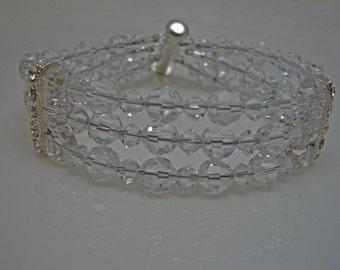 Triple Strand Swarovski Crystal Rhinestone Bridal Bracelet, The Lydia