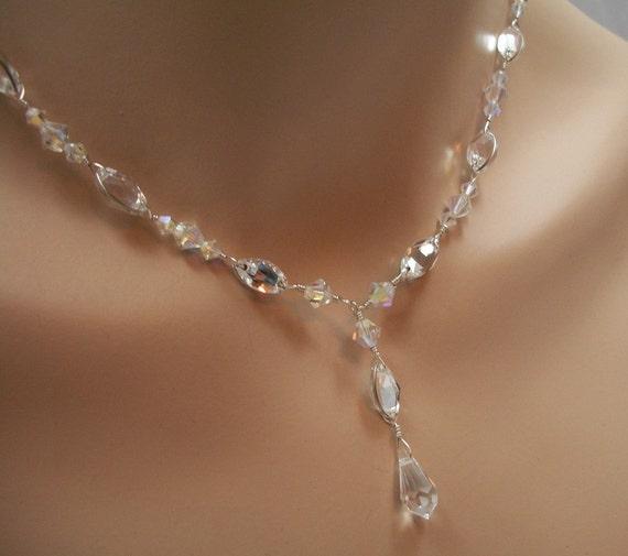 Bridal Jewelry Set Swarovski Crystal Rhinestone Pear Y Drop Bridal Necklace, Back Drop Bracelet, Earrings - The Stephanie
