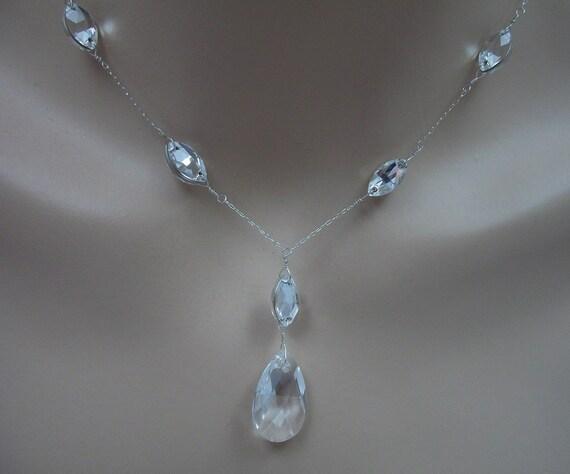 Swarovski Crystal Bridal Bridesmaid Y Drop Pear Pendant Rhinestone  Necklace, The Lisa