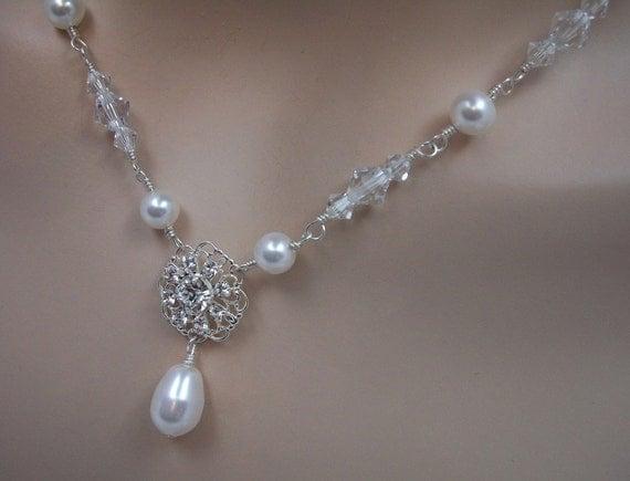 Bridal Necklace Swarovski Crystal and Pearl Rhinestone Filagree, Loves Me, Loves Me Not