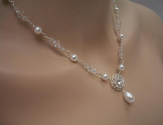 Bridal Jewelry Set, Swarovski Crystal Pearl Rhinestone Bridal Necklace Earrings, Loves Me Loves Me Not