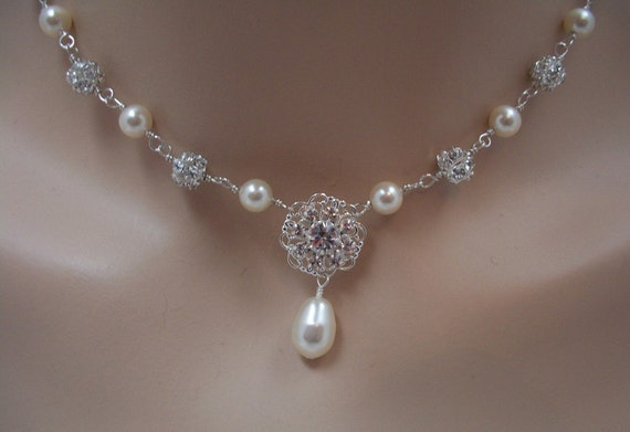 Bridal Necklace Swarovski Crystal and Pearl Rhinestone Filagree, The Kelsey