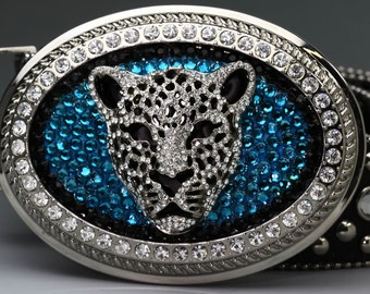 Jaguar Belt Buckle- Teal Swarovski Crystal Buckle