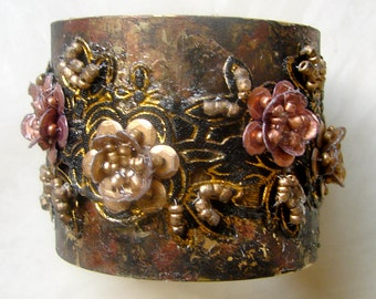 Gilded Brass Copper and Black Floral Beaded Cuff Bracelet