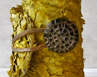 Sunny Yellow Fish Skin Leather with Antique Gold Button Closure Cuff Bracelet