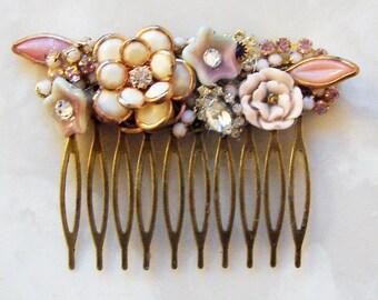Hair comb -Vintage enamel flowers and rhinestones - shabby chic - bride - bridesmaids - wedding